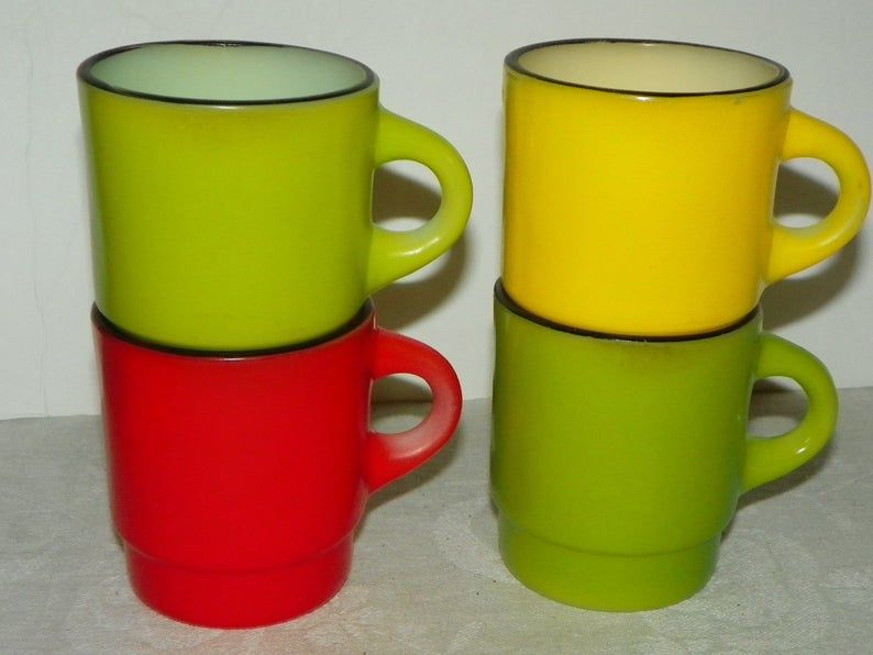 4 Fire King Bold Colors C Handle Stackable Coffee Mugs 1960 S