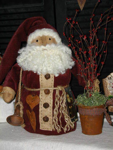 Primitive Ol Folk Art Santa Dollrusty Olde Hornrusty Heartspip