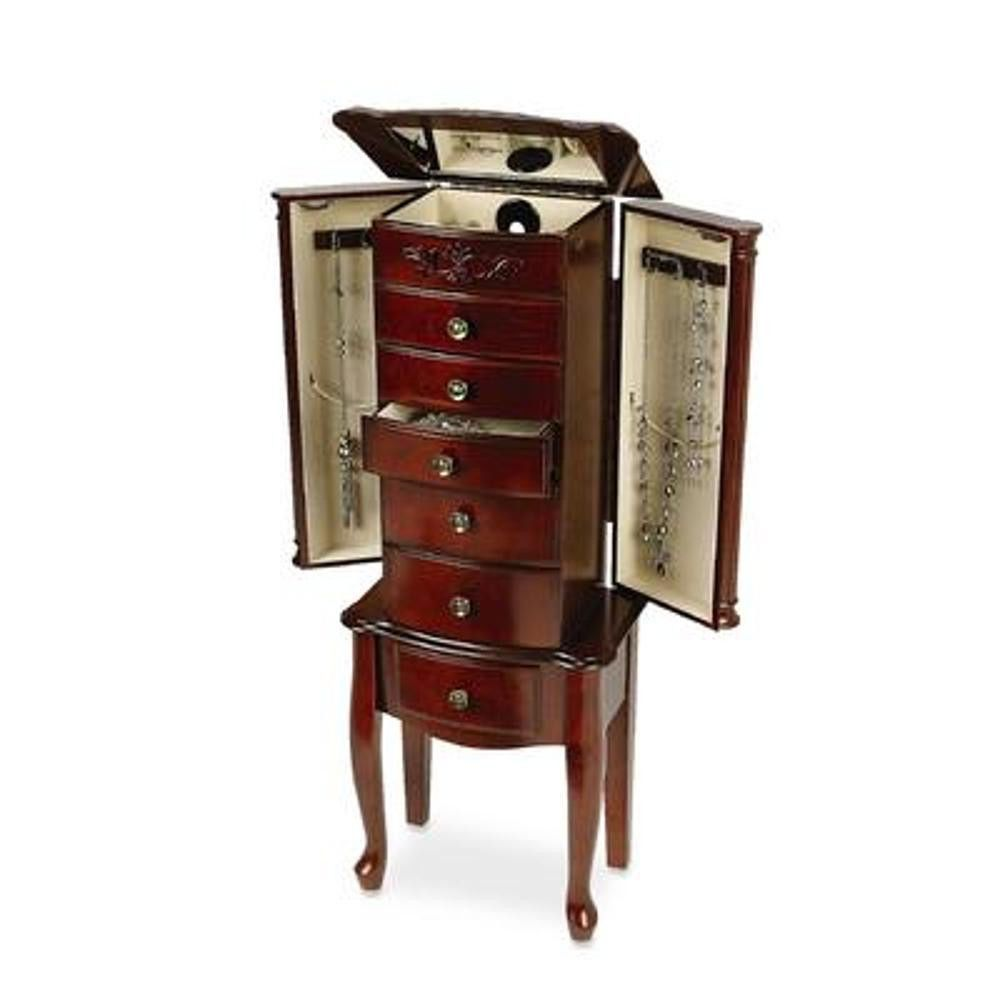 Cherry Jewelry Armoire Cabinet Storage Chest Stand Box Organizer Necklace Rings