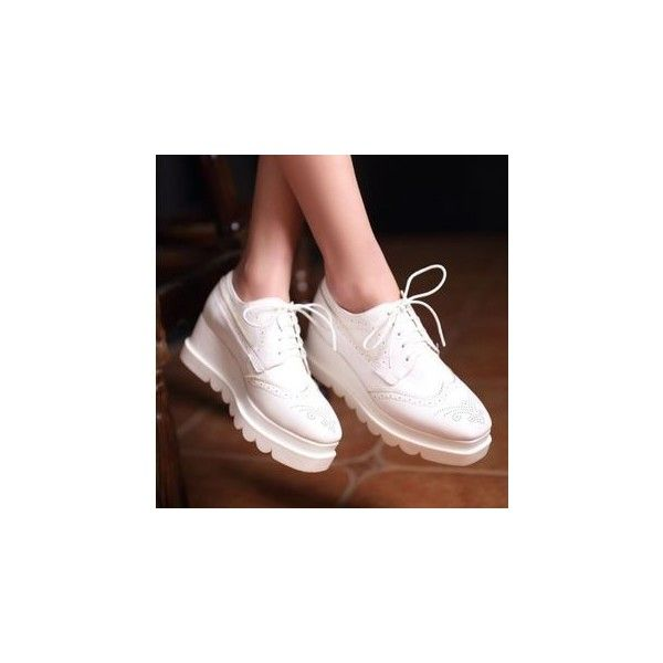 Brogue Wedge Oxfords ($38) ❤ liked on Polyvore featuring shoes, oxfords, footware, platform oxfords, platform shoes, wedge heel platform shoes, fleece-lined shoes and brogue shoes