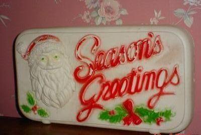 Vintage Christmas Blow Mold ~ Dapol Industries Season's Greetings Sign