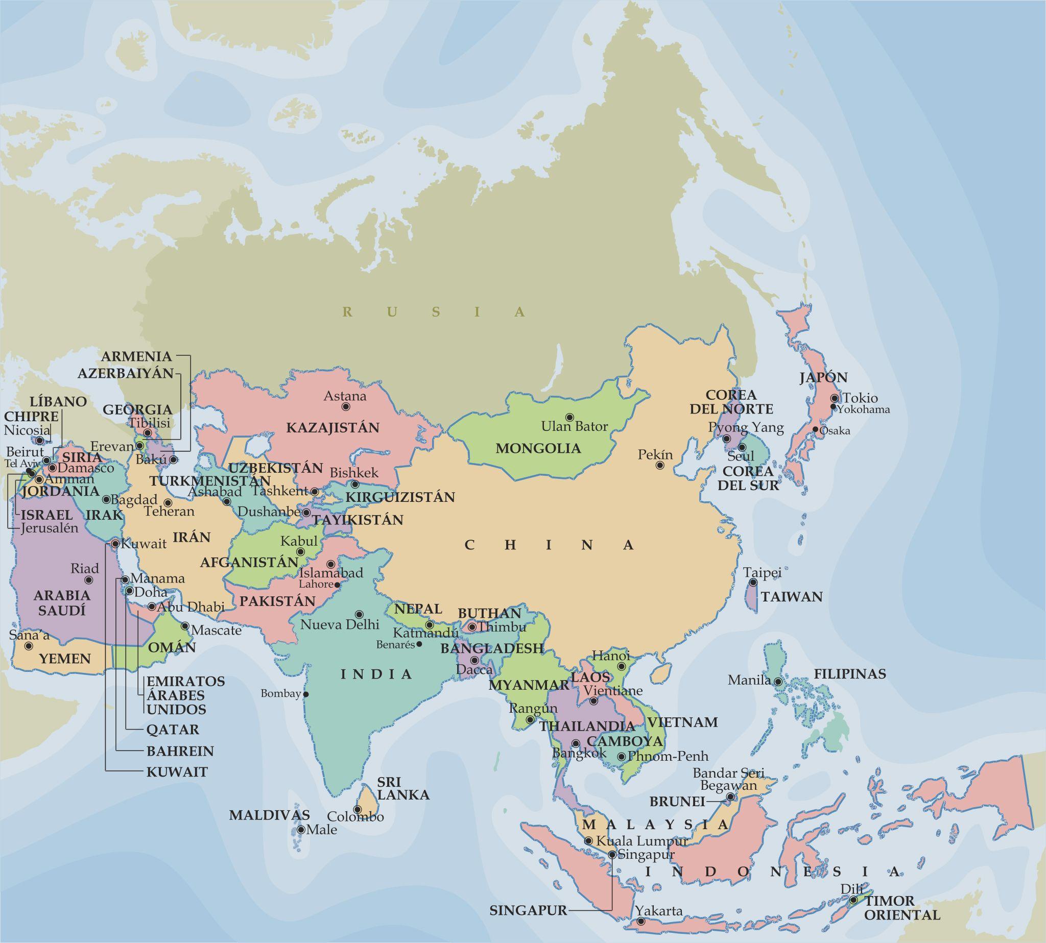 Mapa poltico de Asia  Mapas  Pinterest  Mapa de asia Mapas y
