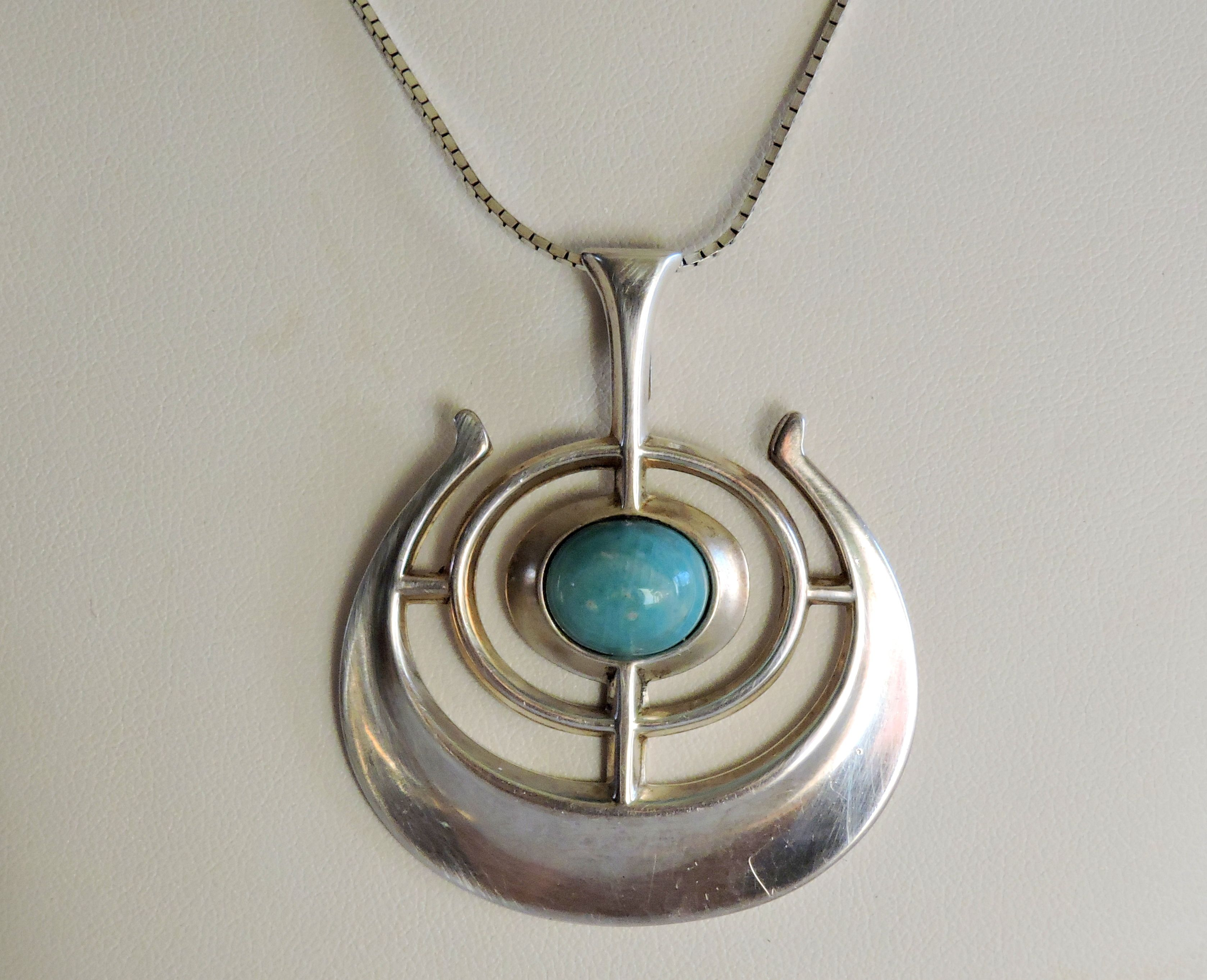 Vintage Sterling Silver With Amozonite Cabochon Pendant by