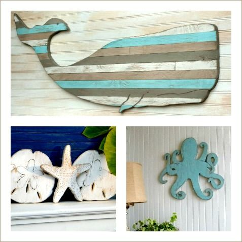sea life wall decor wood wooden whale cutout octopus and others - Coastal Wall Decor