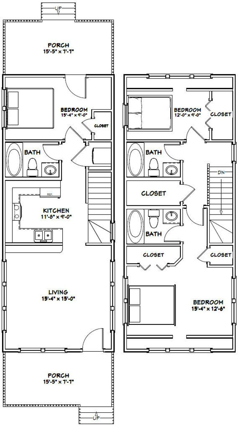 16x40 House 1193 Sq Ft Pdf Floor Plan Instant Etsy Narrow Lot House Plans Shed House Plans Tiny House Floor Plans