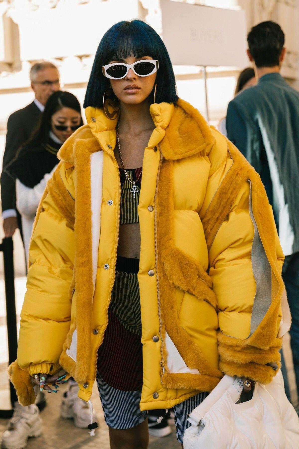 Yellow Oversized Puffer Coat Fashion Puffer Jacket Outfit Emerging Designers Fashion [ 1800 x 1200 Pixel ]