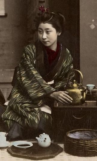 Drinking Tea Detail Late 19Th Century, Japan Hand -3216