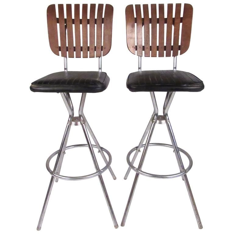 Pair Of Mid Century Modern Slat Back Swivel Bar Stools Bar