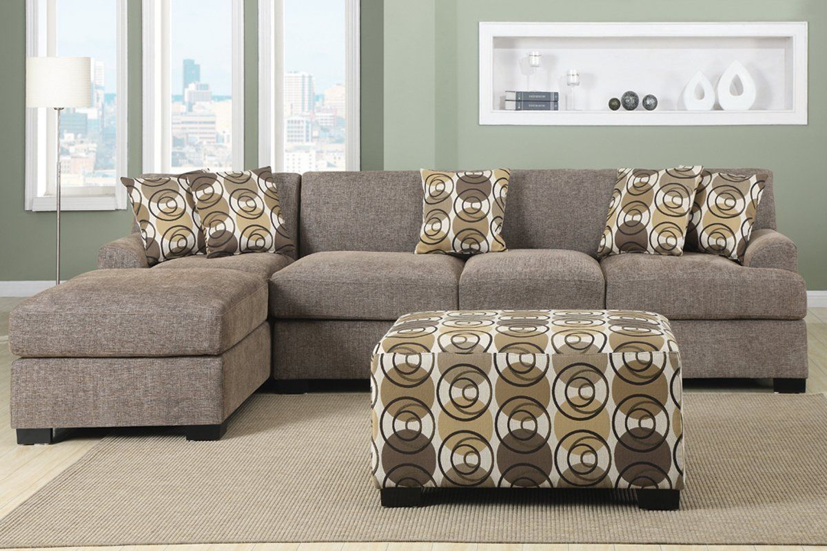 Best 3 Piece Faux Linen Sectional Sofa Set With Ottoman Clean 400 x 300