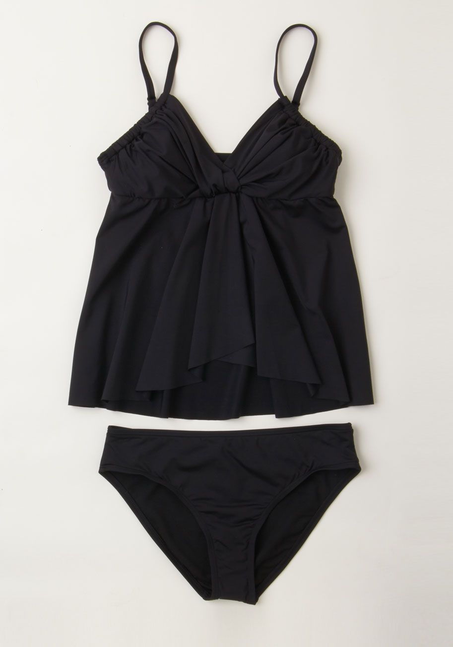 d63293a9b2ec3 Seaside Siren Swimsuit Top. Enchant all at the shore - from the sweetie at  your side to the birds above - in this black tankini top by Kenneth Cole.