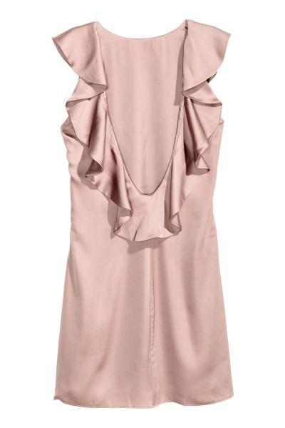 vestido de satén con volantes : vestido corto de satén con mangas