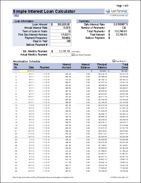 Simple Interest Loan Calculator For Excel Amortization Schedule Simple Interest Loan Calculator