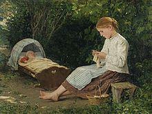 Albert Anker - Strickendes Mädchen, Kleinkind in der Wiege hütend.jpg