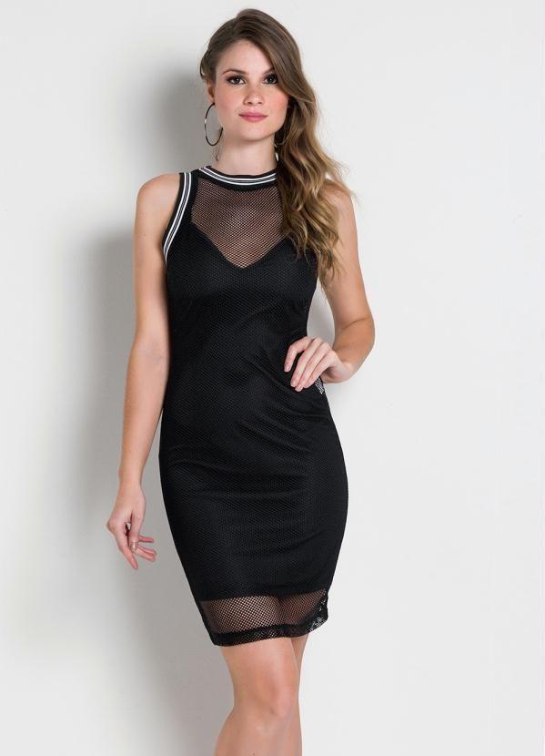 Colcci Vestido de Tela Preto Colcci