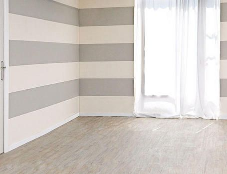 Plaid Striped Painted Wall Horizontal Stripe Sizes Top To Bottom Blue 6 Space 1 5 White 2 5 S Painting Stripes On Walls Wall Paint Designs Wall Design