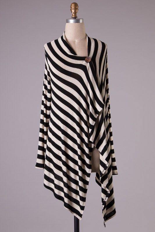 """Cozy Day"" Striped Asymetrical Button Cardigan- Black"