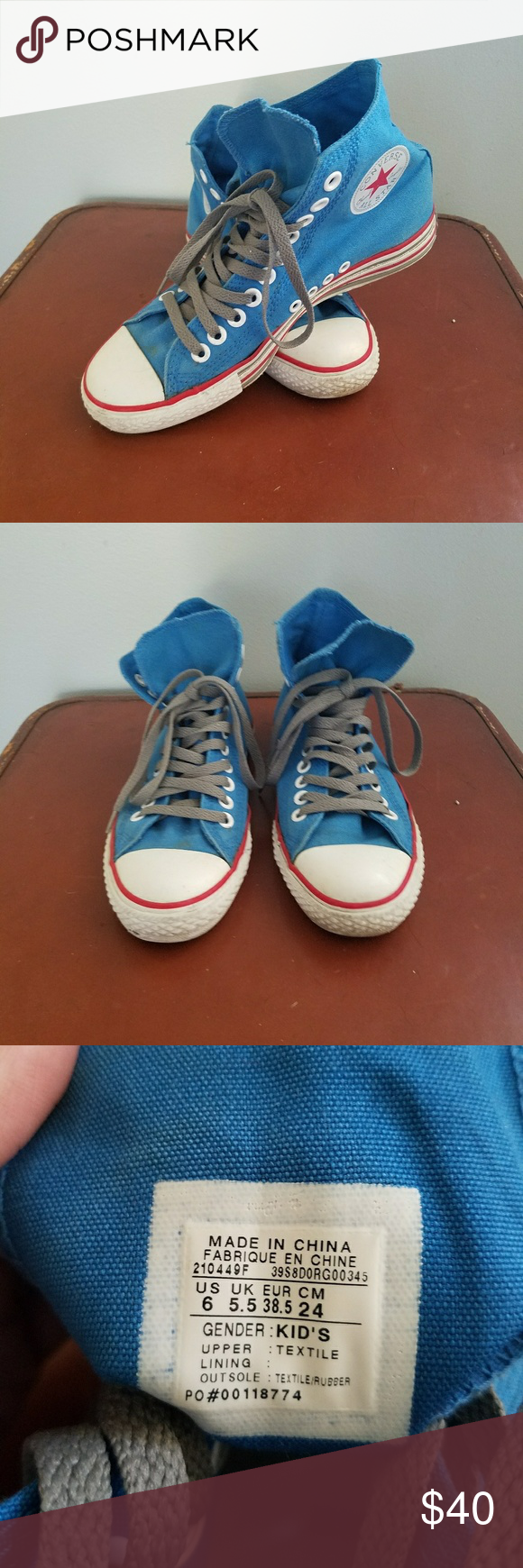 fb0edfb52dd6 Converse All Star High Tops Chuck Taylor Americana colors reflect a classic  appeal in these size 6 Kids (8 Women s