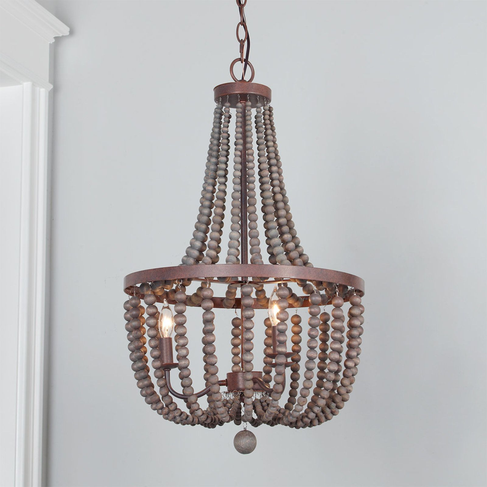 Refined Beaded Drop Basket Chandelier Beaded Chandelier Wood