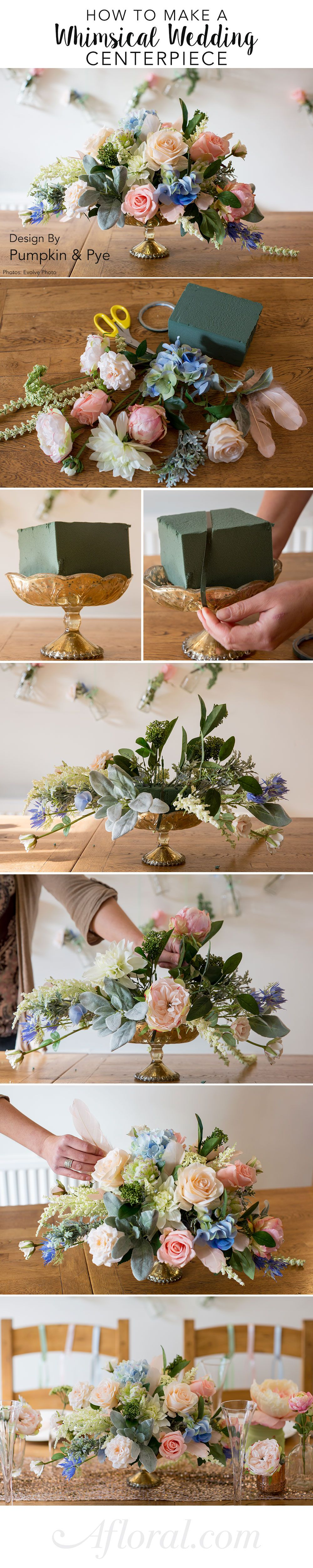 How to diy whimsical wedding centerpiece diy wedding centerpieces learn how to make this beautiful centerpiece for your diy wedding can you believe these are silk flowers fauxreal design by pumpkin and pye photos by izmirmasajfo