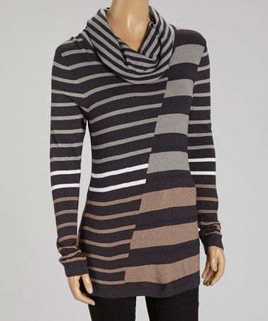 95d208855 Look what I found on  zulily! Spice Stripe Cowl Neck Sweater - Women ...