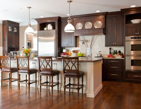 Inspiration For My Kitchen White Subway Tile Chocolate Cabinets Hard Wood And A Pot Filler Lo Brown Kitchen Cabinets Brown Cabinets Kitchen Colour Schemes