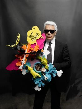 Karl Lagerfeld with his Stefan Strumbel clock