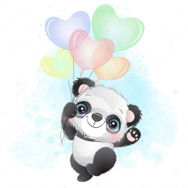 Cute Little Panda Flying With Balloon
