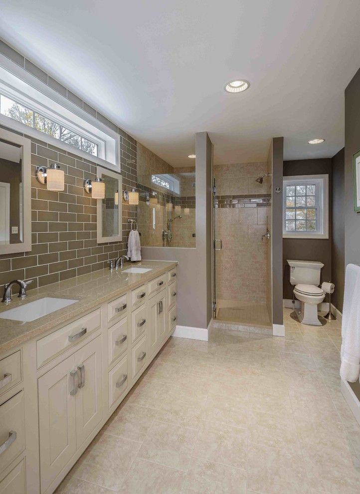 53 Most Fabulous Traditional Style Bathroom Designs Ever: Transom Window Bathroom Traditional With Beige Bathroom