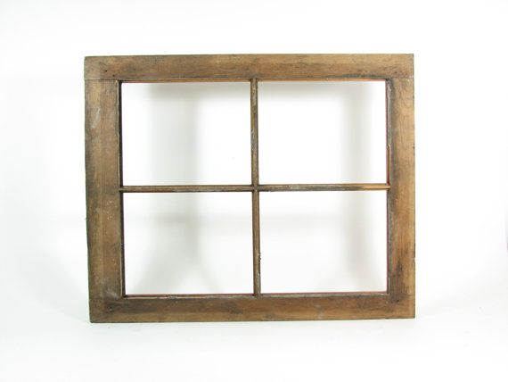 Vintage Wood Window Frame 4 Pane 8x10 without Glass Weathered Wood ...