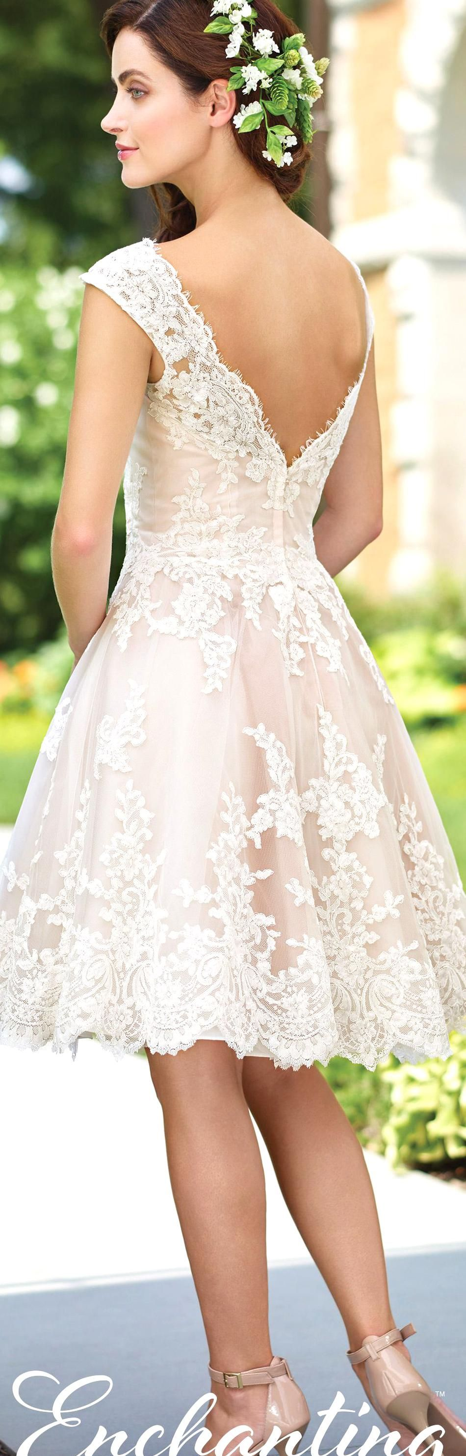 Enchanting By Mon Cheri Spring 2017 Wedding Gown Collection Style No 117185 Lace Short Wedding Dres In 2020 Blush Bridal Gowns Wedding Dresses Wedding Dresses 2017