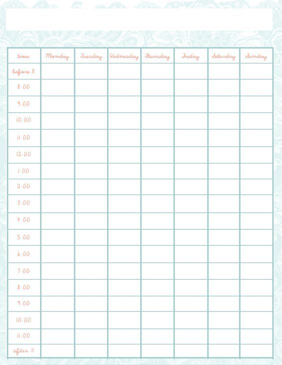 Weekly Schedule Template      Schedule