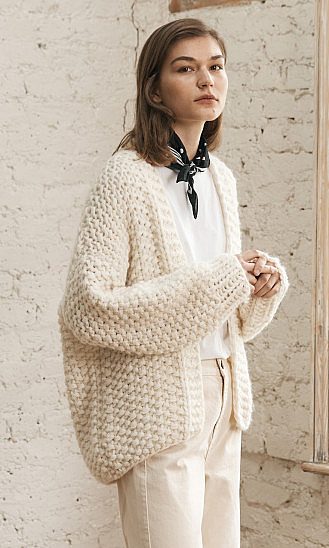 Hand Knitted Cardigan for linen Chunky linen Sweater Women