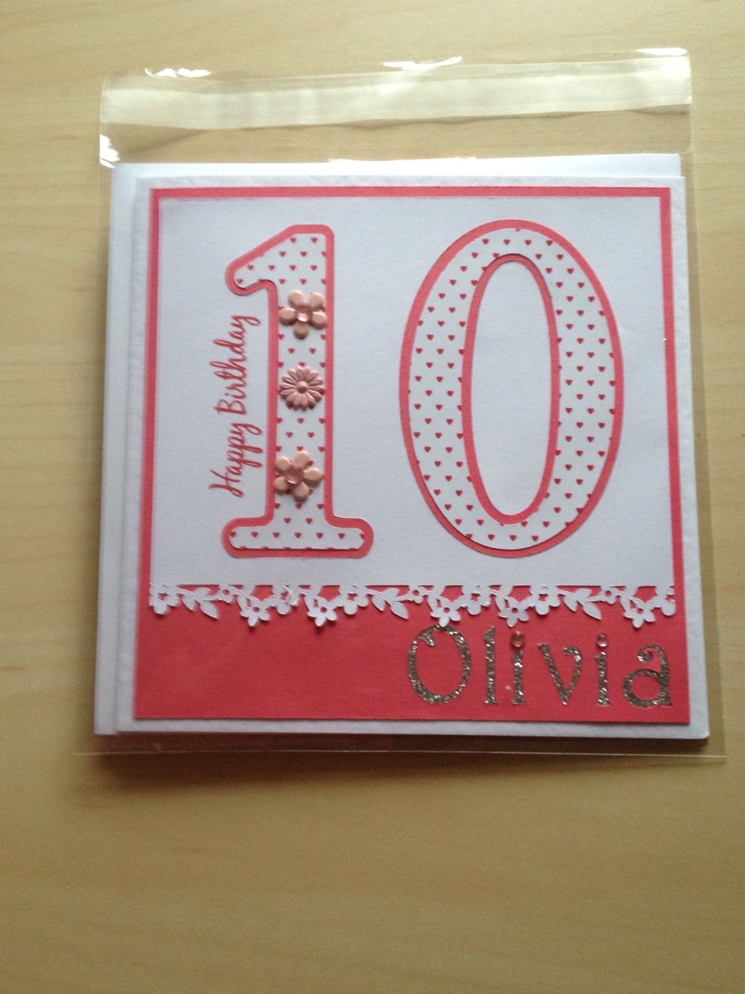 Hand made card girl birthday pink glitter and white silver 10 year old personalised birthday card for olivia bookmarktalkfo Images