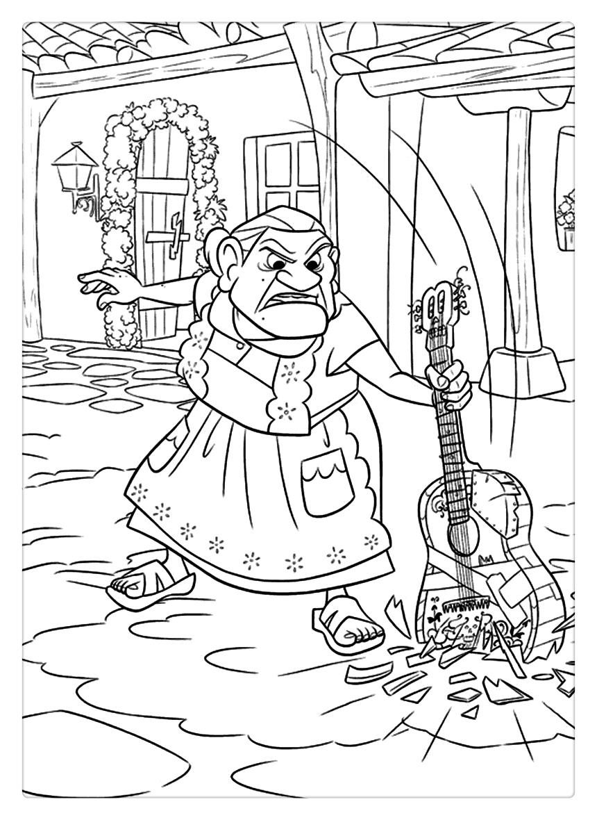 Coco Coloring Pages Grandma And Guitar Png 860 1180 Disney Coloring Pages Coloring Pages Baseball Coloring Pages