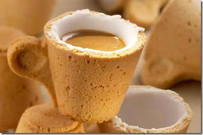 Italian company Lavazza's edible cups for coffee and tea by Sardi, inside of which is coated with sugar icing as insulator that makes the cookie cup waterproof. However, would the coffee get too sweet?
