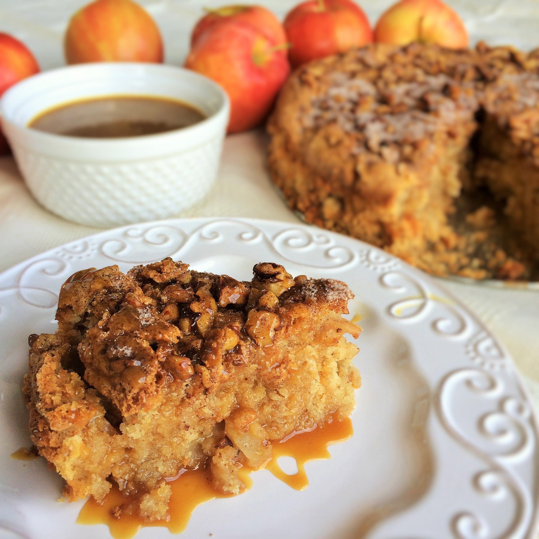 Cinnamon Apple Cake With Buttermilk Caramel Sauce Karen Mangum Nutrition Recipe Baking Recipes Cinnamon Apples Healthy Baking