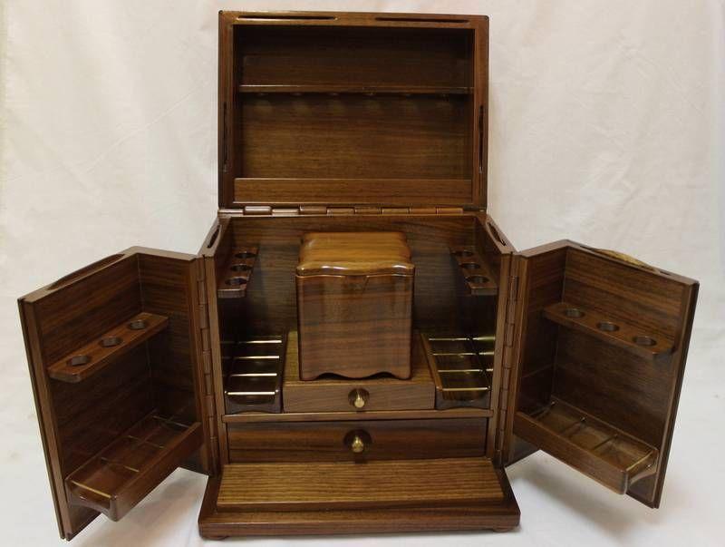 vintage ALFRED DUNHILL Mahogany Wood SMOKERS CABINET Cigar Pipe HUMIDOR Rack - Vintage ALFRED DUNHILL Mahogany Wood SMOKERS CABINET Cigar Pipe