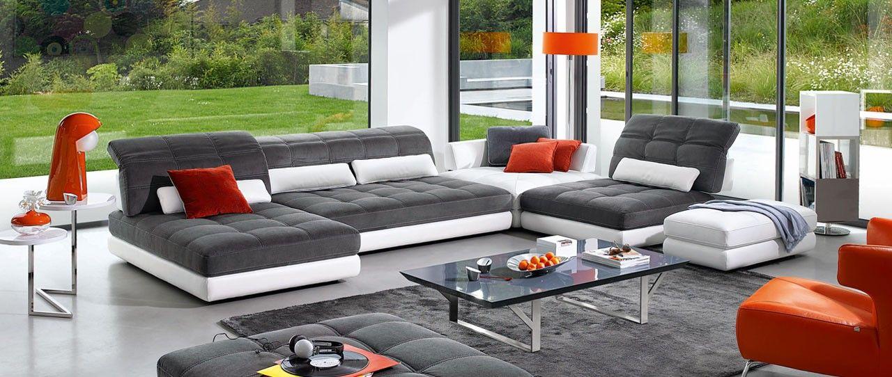 cuir center modulation canap en cuir de buffle et tissu microfibres nombreuses compositions. Black Bedroom Furniture Sets. Home Design Ideas