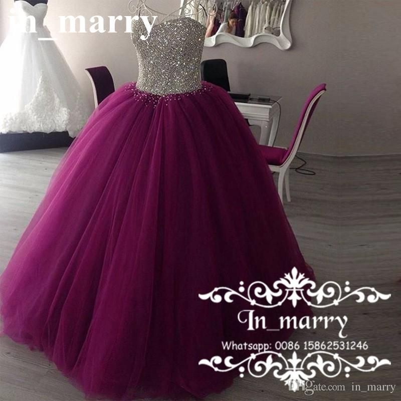7ce90c8296 Luxury Crystal Beaded Ball Gown Quinceanera Dresses 2017 Debutante ...