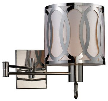 "Elk Lighting 10171/1 24"" Extension 1 Light Swing Arm Wall Sconce with a Drum Sha - midcentury - Swing Arm Wall Lamps - Buildcom"