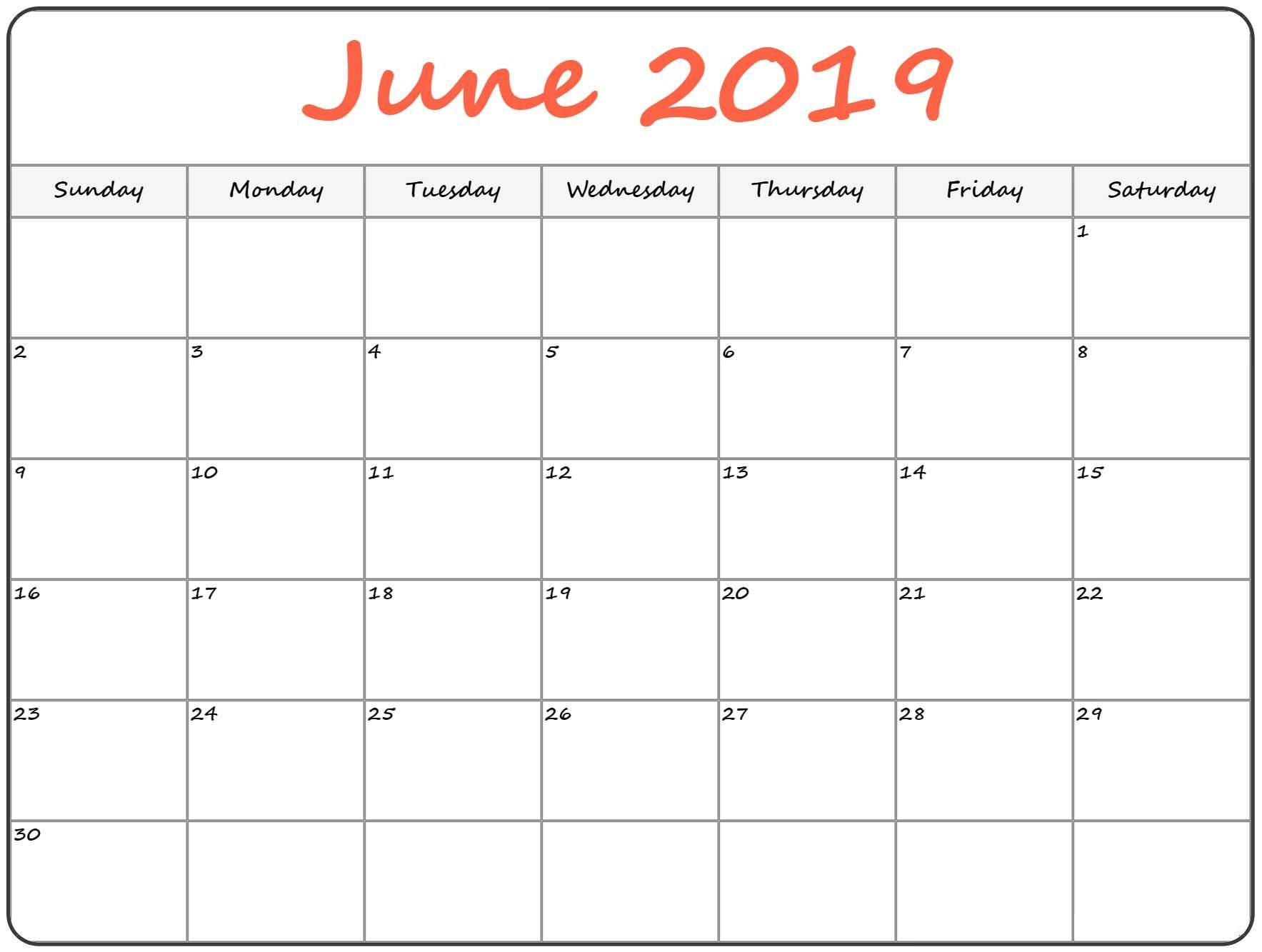 June 2019 Calendar Printable Template In Pdf Word Excel With