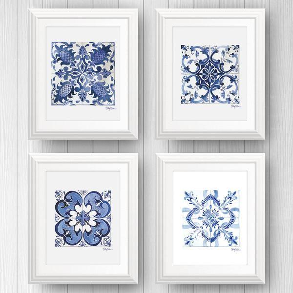 4 Azulejo Portuguese Tile Art Prints