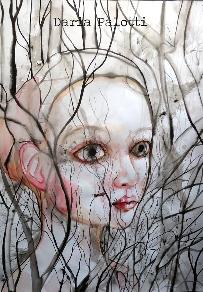 """DARIA PALOTTI """"Biancaneve nel bosco"""", 2016 Acquerello e china su carta, 70x100cm   http://www.dariapalotti.it/, https://www.facebook.com/daria.palotti"""