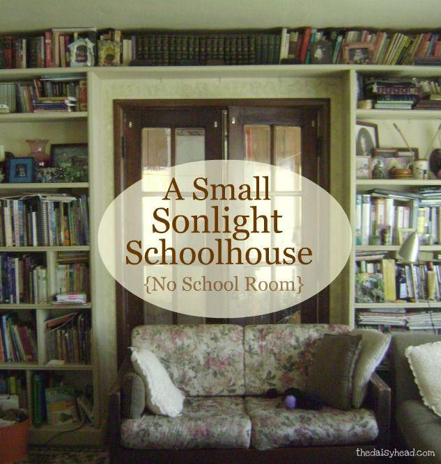 Minimalist Homeschool Room: A Small Sonlight Schoolhouse {No School Room & A Small
