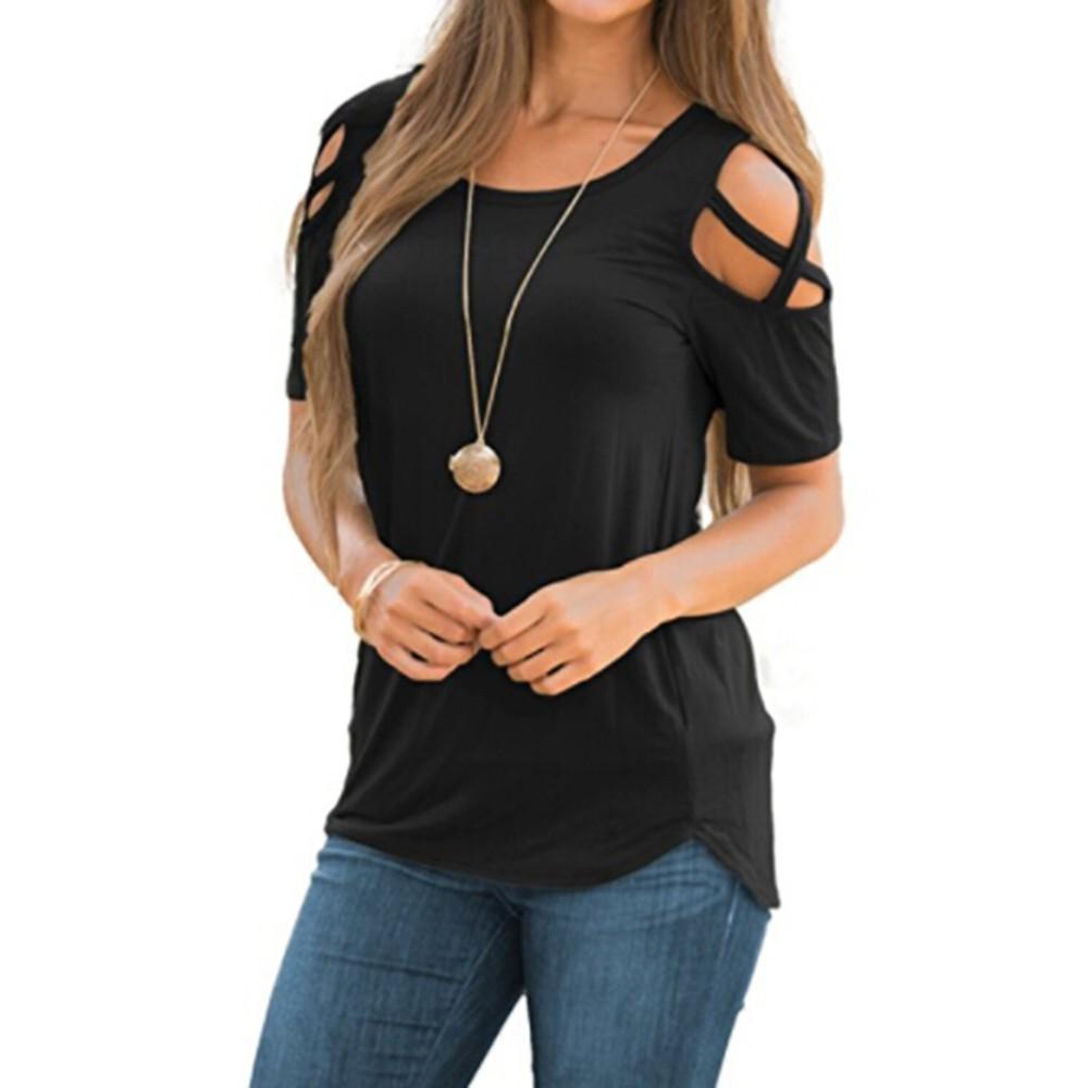 Chamsgend Women Summer Short Sleeve Strappy Cold Shoulder Tops