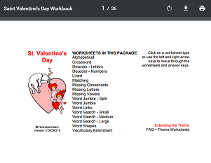 """This is an image from this resource on the Internet4Classrooms' """"Activities for Valentines Day at Internet 4 Classrooms"""" resource page:    Valentine's Day Themed Worksheets.    36 printable worksheets with a Valentine's Day theme. (Answer keys included)"""