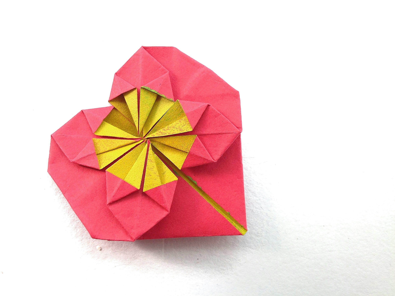 Origami Paper Heart Star Burst
