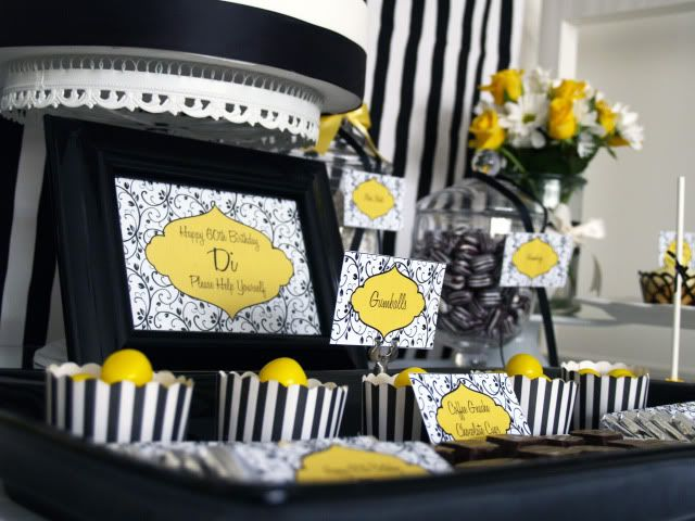 Black White Yellow 60th Birthday Party Yellow Birthday