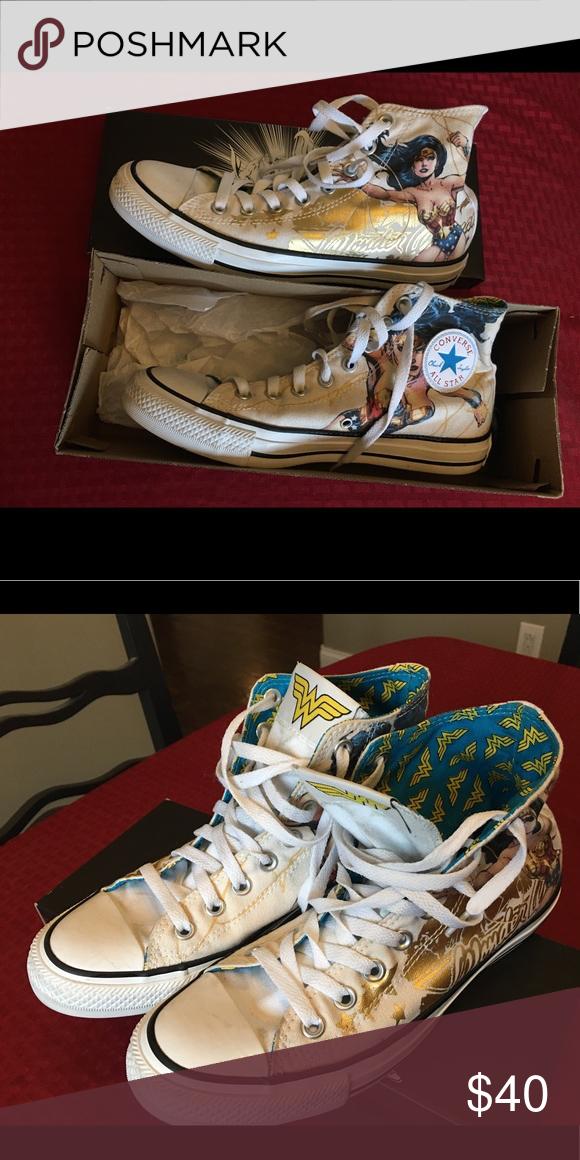21988988f705 Women s Size 9 Wonder Woman Converse Like new high top converse! Wonder  Woman edition Converse Shoes Sneakers