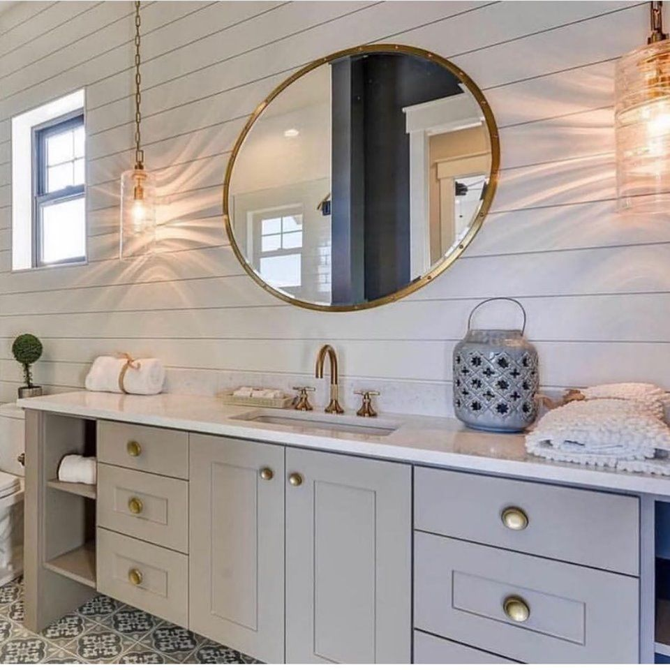 modern farmhouse bathroom vanity. #lightingdesign #lighting #shiplap #goldfixtures #whitecou